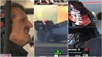 Ups: Her smider Grosjean raceren og får smadret bagvingen