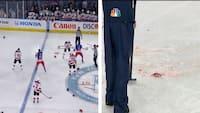 De måtte skrabe store blodpletter væk fra isen efter slagsmål INDEN kampen