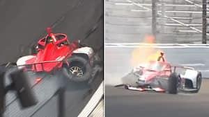 Drama ved Indy 500: Eks-F1-kører hamrer ind i væggen - så går der ild i raceren