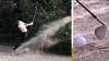 Han flytter på sandet i bunkeren med sin kølle - se episoden der koster australier en straf