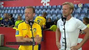 Krohn-Dehli og Poulsen efter legendekamp: 'Den kan sgu mærkes i stængerne i morgen'