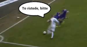 HSV-spiller sender to modstandere ud efter pølser med fræk detalje ved hjørneflaget