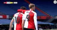 Nicolai Jørgensen scorede til 1-0 - og Feyenoord-fans med fyrværkeri brød ind på De Kuip