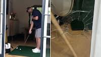 Ups! Thomas Bjørn øver chip derhjemme - shanker bolden og smadrer en rude