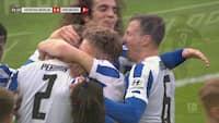 Nedryknings-GYSER: Hertha Berlin spiller sig over stregen - se kampens højdepunkter