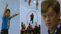 'Det er helt vanvittigt!': Berlin-træner fanget inde på banen - se det her