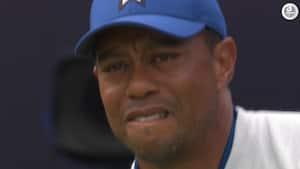 'Åh nej! Det er godt nok op ad bakke for Tiger' - laaang dag på kontoret for amerikansk golfstjerne