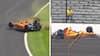Fernando Alonso i voldsomt crash i Indianapolis - så kører kranvognen med hans ødelagte racer ind i en bro