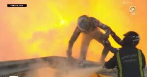 Nye tv-billeder af vanvittig ulykke: Her flygter Romain Grosjean fra flammehavet