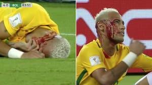 Voldsomt retroklip: Neymar banket ned i landskamp - blodet pibler frem