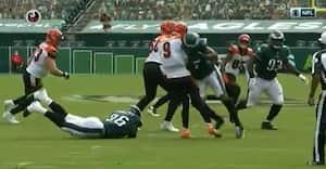 Velkommen til NFL - se Joe Burrow blive tordnet i jorden efter kæmpe hit