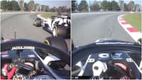 Det famøse håndtegn: Her kommer Kvyat og Grosjean lidt for tæt på hinanden