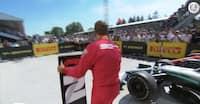 Så flabet var Vettel: Fjernede vinderskiltet fra Hamilton og flyttede det over til sig selv