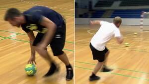 Guld fra arkivet: Boldsen tager fodboldeksperter med i håndboldhallen - udfordrer i 'dizzy goals'