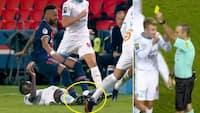 'Der er ikke engang frispark, mand!': Neymar lander på Marseille-spiller og ruller rundt - så får modstanderen gult