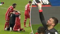 Vanvittig afslutning: Alisson scorer Liverpools sejrsmål i 95. minut