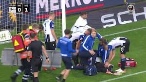 Voldsomt sammenstød: Bielefeld-dansker må bæres fra banen