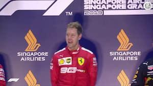Vettel i tårer på podiet efter første F1-sejr i over et år